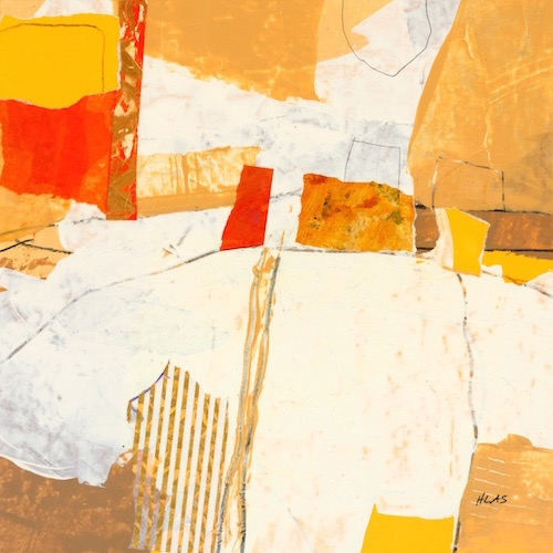 Tom Hlas Over There-Three mixed media painting Connecticut